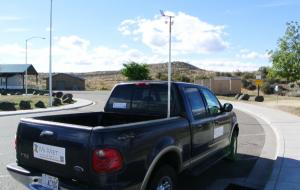 Truck with wind sensor