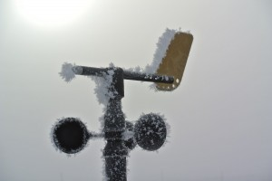 Frosty anemometer and vane are still operational.