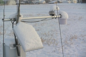 Snow accumulation on solar panel.