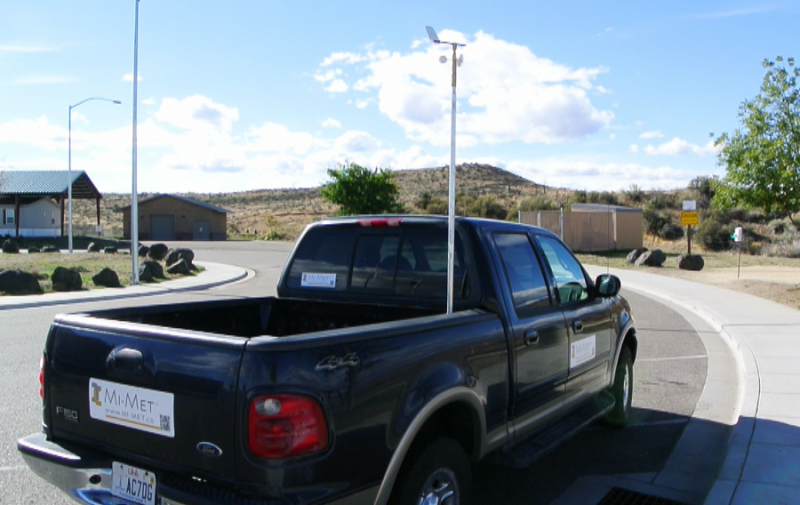 Truck with wind sensor mounted