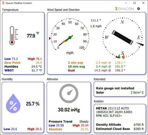 Weather Connect Home Aviation Light Theme