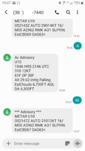 Aviation weather station SMS text message.