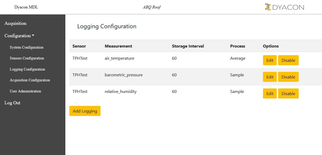 MDL web interface logging configuration list