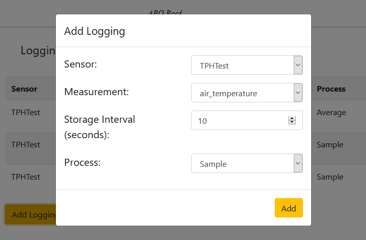 Dyacon MDL web interface add logging screen